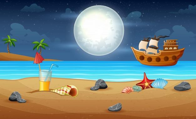 Wooden ancient ship sailing at night