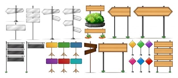 나무와 금속 표지판