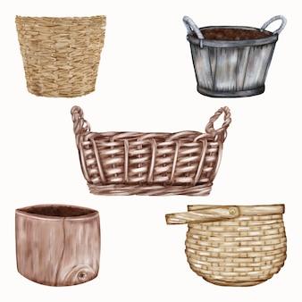 Деревянные и соломенные корзины и горшки. пасхальные праздники Premium векторы