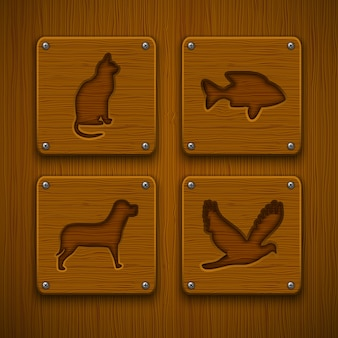 Wooden animal icon set