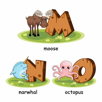 Wooden animals alphabet moose narwhal octopus