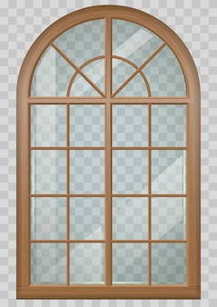 Wooden arched window