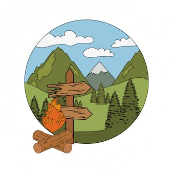 Wooden arrow guide label with pines trees