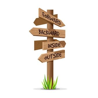 Wooden arrow signboard illustration