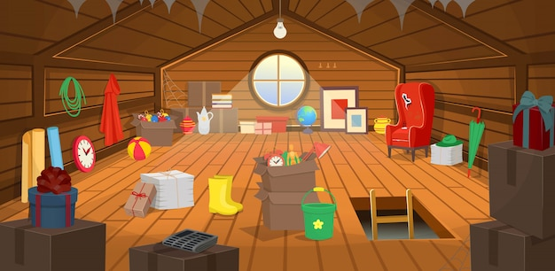The wooden attic interior with boxes, an armchair, a window, dishes, books, paintings, clothes, paper, an umbrella and gifts. vector cartoon illustration