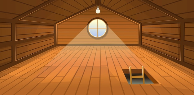 The wooden attic interior with a window and stairs.  cartoon illustration.