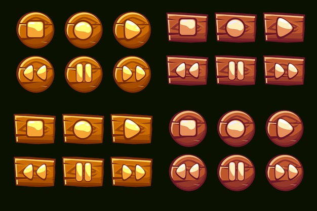 Wooden audio buttons. illustrated icons of the player