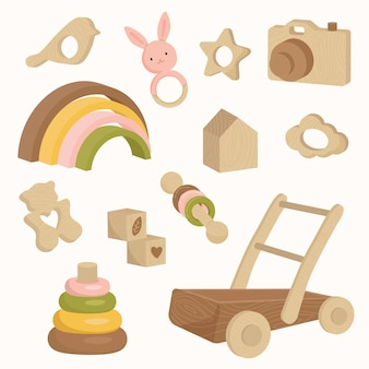 Wooden baby toys in earth tone colors rainbow push walker donut rattle camera icon set