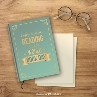 Wooden background with book and glasses in realistic style