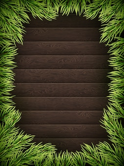 Wooden background with christmas fir tree.