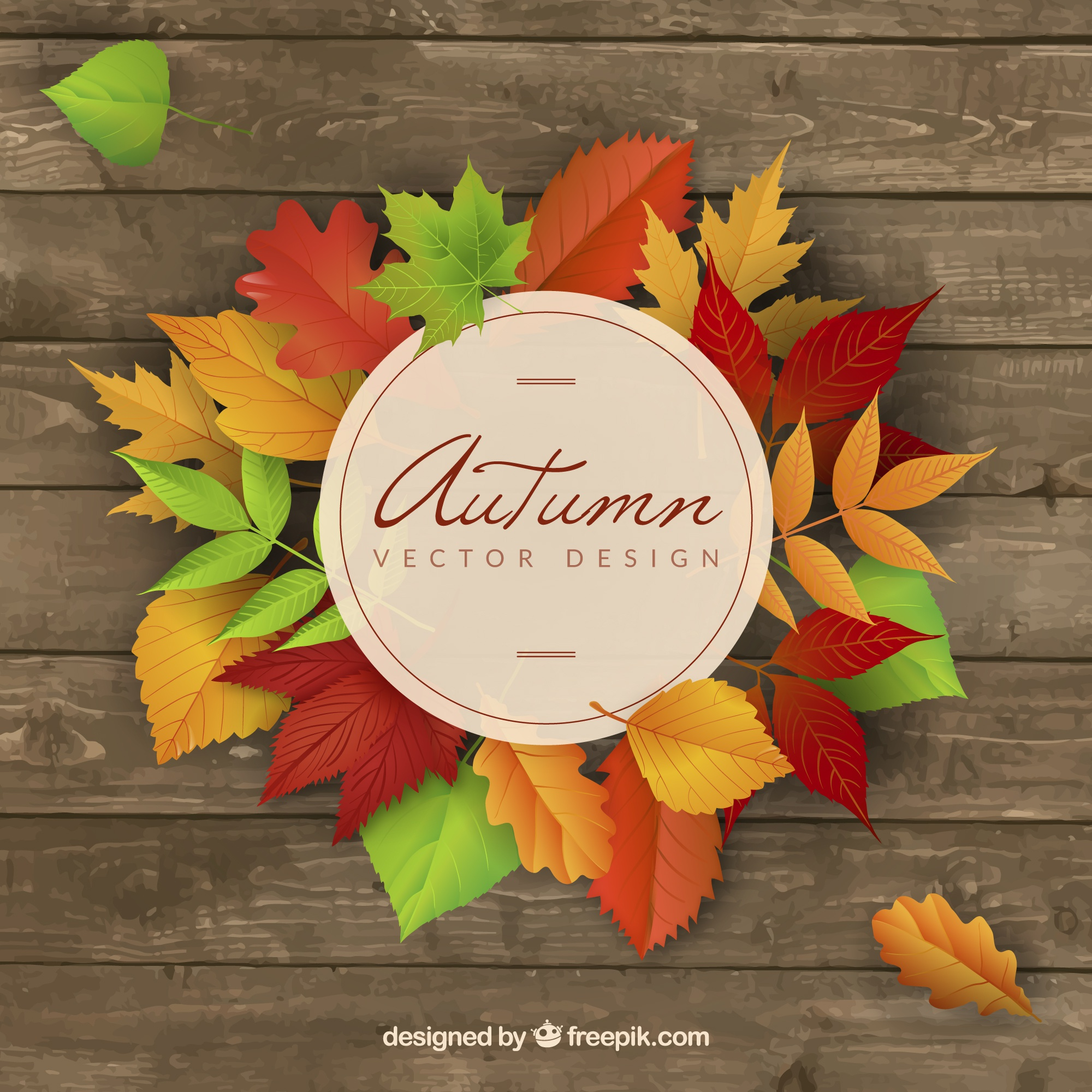 Wooden background with colored autumnal leaves