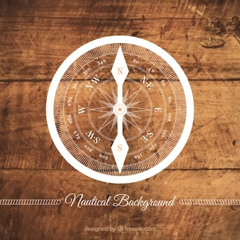 Wooden background with a compass