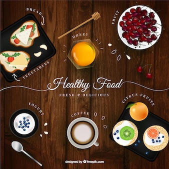 Wooden background with food in realistic style