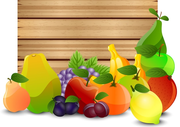 A wooden background with fruits