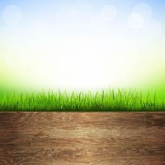 Деревянный фон с границей травы, с градиентной сеткой