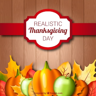 Wooden background with natural thanksgiving elements