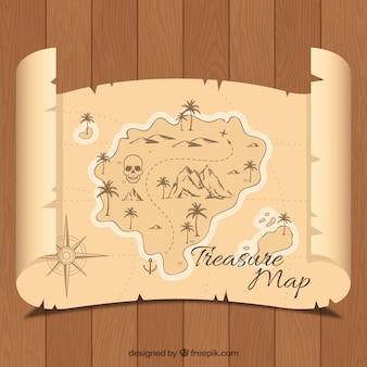 Деревянный фон с ретро карта острова сокровищ