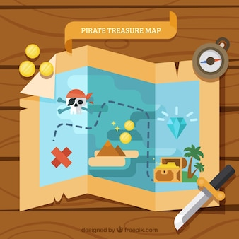 Wooden background with treasure map in flat design