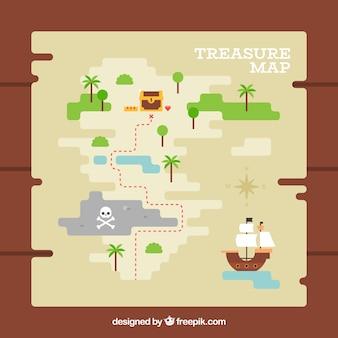 フラットデザインの宝の地図と木製の背景