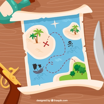 Wooden background with treasure map and pirate elements