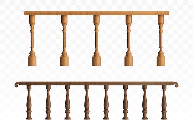 木製の欄干とバルコニーの手すりまたは手すり
