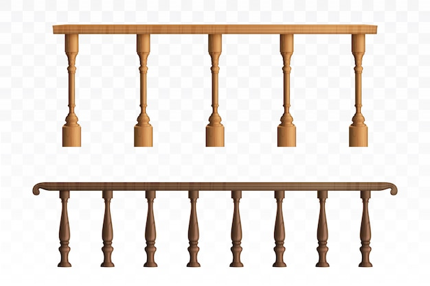 Wooden balustrade and balcony railing or handrails
