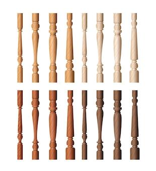 Набор деревянных иллюстраций столба балюстрады.