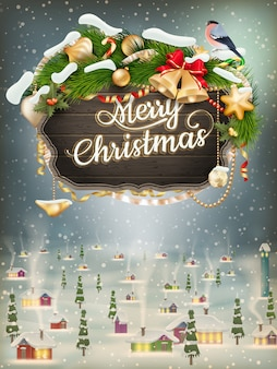 크리스마스 모피 나뭇 가지와 나무 배너입니다.