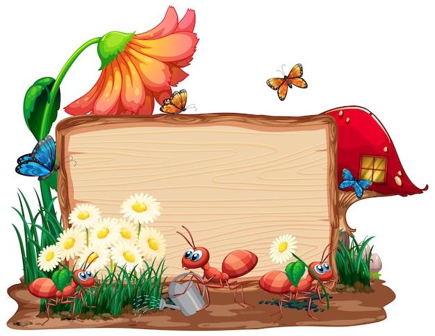 庭の昆虫と木製のバナー