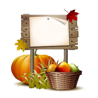 Wooden banner with orange pumpkin, autumnal leaves and basket full ripe apples.  illustration autumn harvest festival or thanksgiving day. environmentally friendly vegetables.