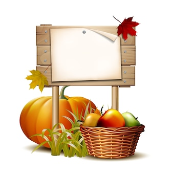 Wooden banner with orange pumpkin, autumnal leaves and basket full ripe apples.
