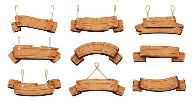 Wooden banners. blank signboards with chains ropes and bolts tablet banners