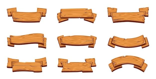 Деревянные баннеры. деревенские вывески, винтажные текстурированные пустые доски.