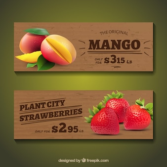 Wooden banners with realistic fruits