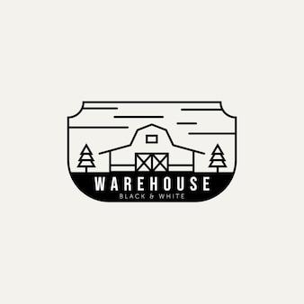 木製納屋ファームミニマリストラインアートロゴバッジテンプレートベクトルデザインイラスト