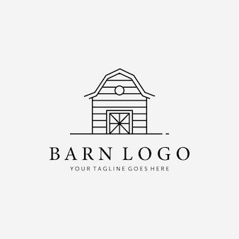 木製の納屋の家の線画ベクトルロゴ、イラストキャビンコテージのヴィンテージデザイン古い赤い納屋小屋のコンセプト