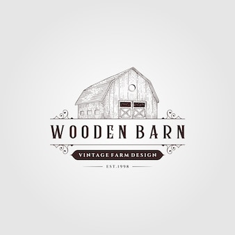 Деревянный сарай логотип винтаж