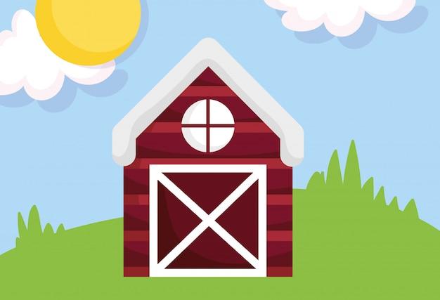 木造の納屋草原太陽雲ファーム漫画イラスト