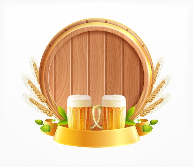 Composizione realistica di emblema di birra in botte di legno con pezzi di bicchieri di teste di grano e botte di birra in legno