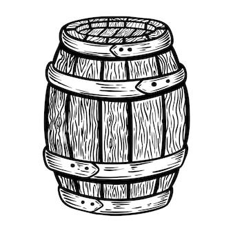 흰색 배경에 나무 통 그림입니다. 로고, 라벨, 엠 블 럼, 기호에 대 한 요소입니다. 삽화