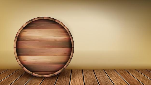 Wooden barrel laying on floor copy space vector