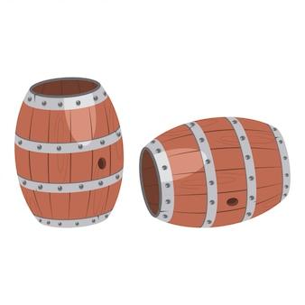 分離された木製の樽ベクトル漫画セット。