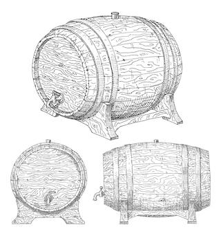 Wooden barrel. vintage vector hatching black monochrome black illustration. isolated on white background. hand drawn design