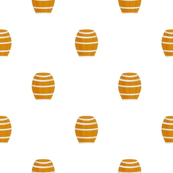 Wooden barrel for wine beer seamless pattern