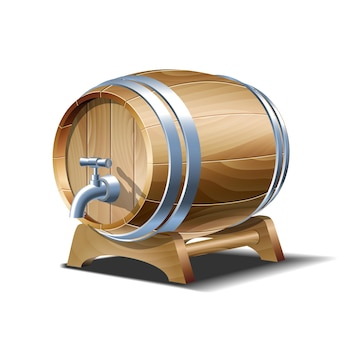 Wooden barrel for wine, beer or whiskey. realistic cask from oak wood with copper or iron rings, stopper and tap, keg for rum or cognac isolated on white background, realistic 3d vector clipart
