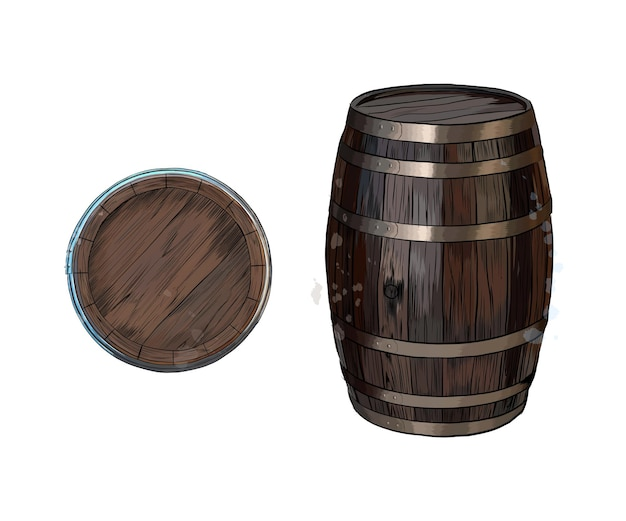 Wooden barrel for wine or other drinks from a splash of watercolor