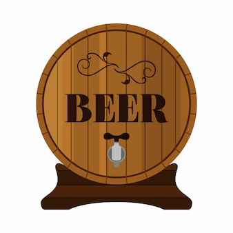 Wooden barrel with beer alcohol drink