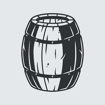 バーメニュー用のクラフトビールまたはウイスキーと木製の樽
