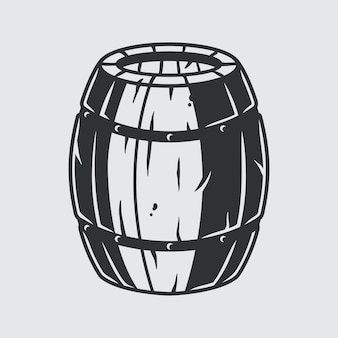 Wooden barrel with craft beer or whiskey for bar menu