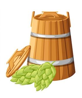 ハンドルと白い背景のウェブサイトのページとモバイルアプリのヘブとホップのイラストの蓋付き木製の樽